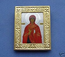 ORTHODOX RUSSIAN ICON ST ANNE,brass frame