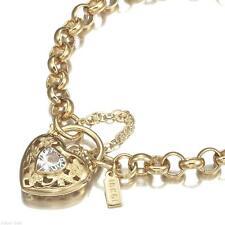 18K Yellow Gold GL Womens Solid Medium Belcher Bracelet & Crystal Filigree Heart