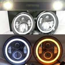 "2x 7"" LED Halo Headlights Flash AMBER For MQ Y60 Nissan Patrol GQ Ford Maverick"