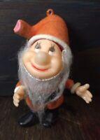 Dwarf Flocked Christmas Tree Ornament Vintage Hong Kong Snow White Disney
