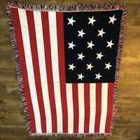 Francis Scott Key 15 Star American USA Flag Throw Blanket Vintage Made in Spain