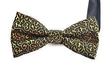 Mens PVC Faux Leather Fashion Black Gold Shining Bow Tie Bowties Wedding Party