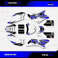 White & Blue Shift Racing Graphics Kit fits 06-19 YAMAHA TTR50 TTR 50 decal