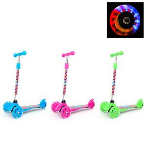 3 Wheel Kids Scooter Child Kick Flashing LED Light Up Push Adjustable XMAS Gift