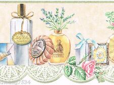 Perfume Soap Bath Oil Bottle Seashell Rose Bathroom Green Lace Wall paper Border