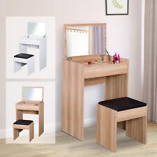 Dressing Table Set Flip-up Mirror Dresser Padded Stool Multi-purpose Bedroom