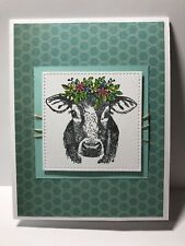 Handmade Stamped Greeting Card Cow With Flowers