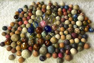 Big lot of 160+ Antique Marbles German Swirls Mica Agate Chinas Clay Bennington