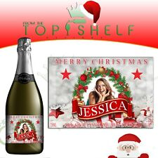 Personalised photo Merry Christmas Xmas Prosecco / champagne bottle label gift