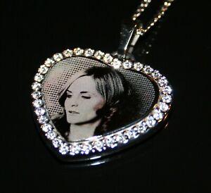 Precision Engraved Stainless Steel Heart Gemstones Photo Pendant