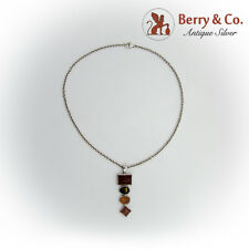 Long Three Tone Amber Pendant Chain Necklace Sterling Silver