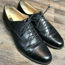 The men's Store Bloomingdale Black Leather Cap Toe Dress Shoes Men's 10.5D S28