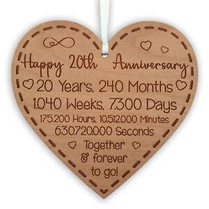 20th Anniversary Gift for Husband Wife Ideal Wedding Heart Hanging Keepsake