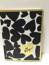 Betsey Johnson Journal Notebook Betsy Hearts, Black, White & Gold NEW