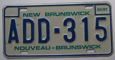 New Brunswick 1987 GOOD NUMBER License Plate SUPERB QUALITY # ADD 315