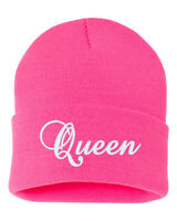 QUEEN Embroidered Cuffed Beanie Hat, Embroidered Gift, Winter Hat
