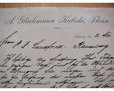 THORN 1894, GLÜCKMANN KALINSKI, Litho, Rechnung, Autograph an Landfried RAUENBER