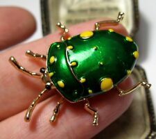 Vintage Style Lovely BEETLE Insect Vibrant Green Enamel Jewellery BROOCH Pin