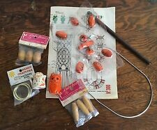 Vintage Macrame Supply Lot Beads Glass Wood Pattern Owl Rod Rings Supplies
