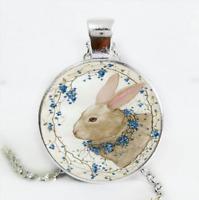 Easter Bunny Photo Cabochon Glass Silver/Black/Bronze Chain Pendant Necklace#5