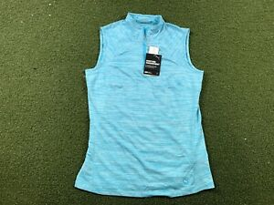 Women's PUMA Sleeveless Golf Polo 1/4 Zip Scuba Blue SZ S ( 595829 19 )