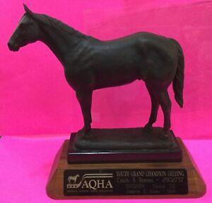 SUZANN FIEDLER Signed Bronze Horse Sculpture ~ 1980s AQHA Trophy, Marble/Walnut
