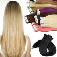 20/40pcs Tape in 100% Real Remy Human Hair Extensions BE Virgin Skin Weft Party