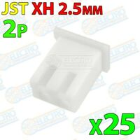 Carcasa Conector JST XH 2.5mm 2P plastico blanco cable 2 pines - Lote 25 unidade