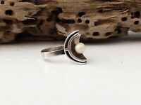 Denmark Sterling Silver 925S Pearl EE Engberg Mid Century Modernist Size 8 Ring
