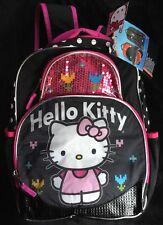 "Hello Kitty Deluxe Backpack With Rain Hood 16""- New!"