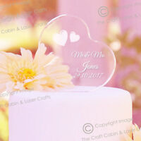Mr & Mrs Personalised Crystal Clear Acrylic Heart Wedding Cake Topper