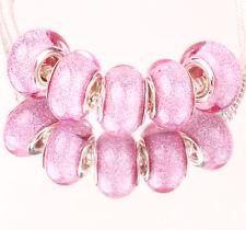 10pcs SILVER MURANO bead LAMMWORK fit EuroMean Charm Bracelet #66