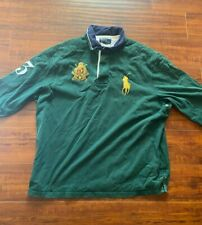 Vintage 90s Polo Ralph Lauren #3 Big Pony Green Thick Long Sleeve Rugby Shirt