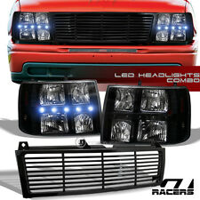 BLK DRL LED HEADLIGHTS SIGNAL+BUMPER GRILL GRILLE 2000-2006 CHEVY TAHOE SUBURBAN