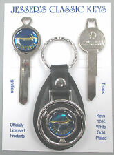Blue Plymouth Barracuda Fish Logo Deluxe Classic Key Set 1964 1965 NOS Keys