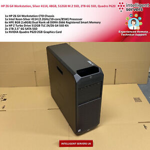 HP Z6 G4 Workstation, Silver 4114, 48GB, 512GB M.2 SSD, 2TB 6G SSD, Quadro P620