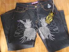 New Men's Jeans by Christian Audigier; Size 38/32; MSRP $247: Skulls/Roses