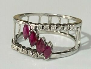 18CT solid gold w/ Ruby & Diamond ring 4.20g size P -  7 1/2