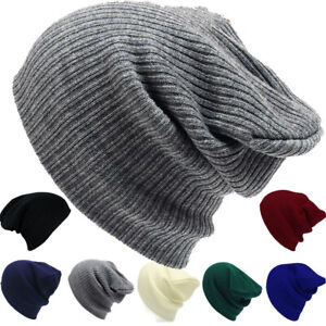 Hat Mens Ladies Knitted Woolly Winter Oversized Slouch Beanie Hat Cap skateboard