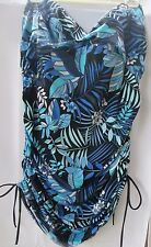 Deep Blue By Oxygen Womens Plus Size Swimsuit Floral One Piece 24W