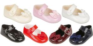 Baypods baby christening pram shoes bow girl Early Days white cream pink black