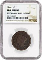 1844/81 1C Braided Hair Large Cent N-2 NGC Fine Details Environmental Damage