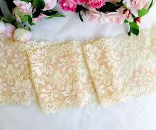 12.5 cm width Light Yellow/Orange Stretch Lace Trim