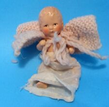 "A/O 1930 German 3"" Composition Baby Doll Hertwig? Crochet Cape Jointed Dollhouse"