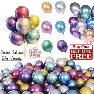 "Chrome Metallic Balloons 10"" inch Birthday Wedding Party Baby Shower Decors UK"