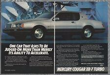 1984 MERCURY COUGAR XR-7 2-page advertisement, silver 2-door Cougar Mercury ad