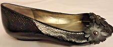 Bandolino Womens Open Toe Dress Shoes Black w/ Flower Embellishments 6.5 Medium