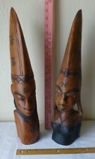 Vintage Wooden African Tiki Bust Carved Man and Woman Statue Collectible Pair