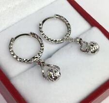 18k Solid White Gold Hoop Balls Dangle Kids/women Earrings, 1.52 Grams