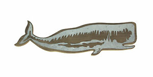 21 Inch Long Right-Facing Distressed Wooden Sperm Whale Wall Plaque With Metal